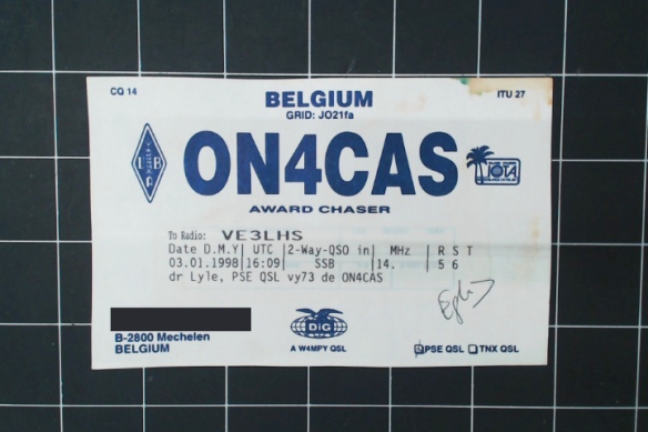This Belgian is looking for a QSL, presumably to win an award. Card is automatically-generated