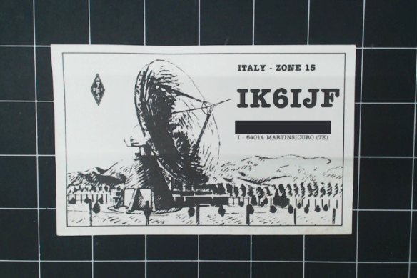 Italian card with a nice charcoal of the transmitter. Likely a repeater station, not an amateur