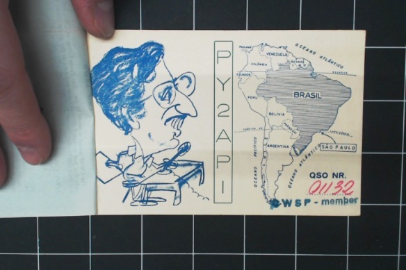 Backside of Sao Paolo card, with dorky caricature and little map