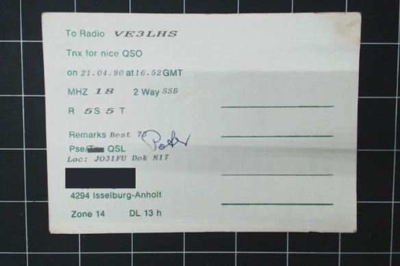Backside of Anholt QSL. Details were printed on.