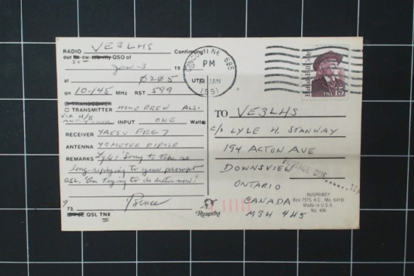 Backside of Nebraska card. The guy procrastinated his QSL, tsk tsk