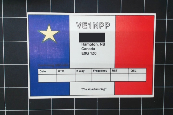 Acadian Flag on the card, but it's been New Brunswick for centuries